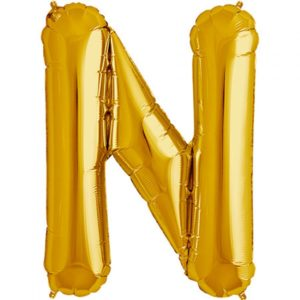 N-gold foil letter balloon
